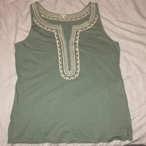 J.Crew Embroidered Sleeveless Green Shirt Tunic